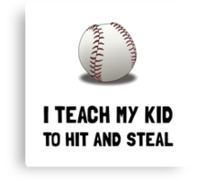 Hit And Steal Baseball Canvas Print