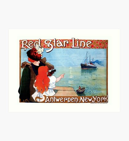 Red Star Line Antwerp New York art nouveau ocean travel ad Art Print