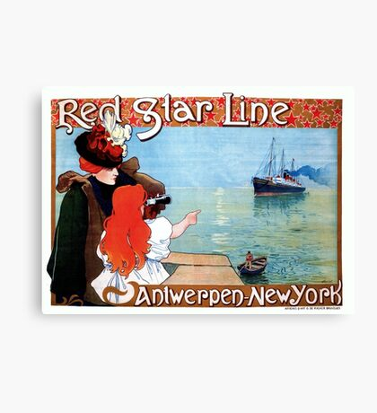 Red Star Line Antwerp New York art nouveau ocean travel ad Canvas Print