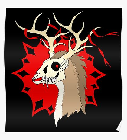 Ribbon Deer (Dark Version) Poster