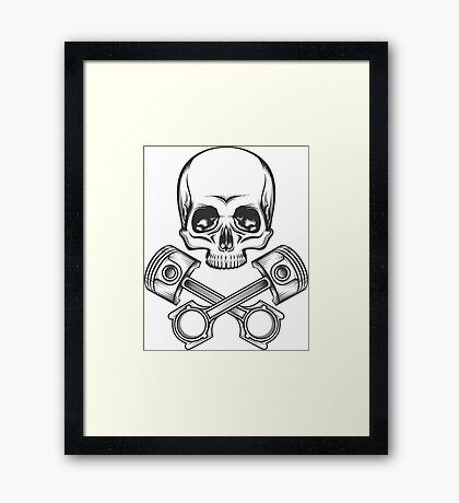 Human Skull with Engine Pistons Framed Print