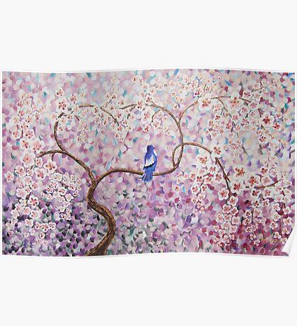 Cherry blossoms sakura tree lilac blue bird painting by Ksavera Poster