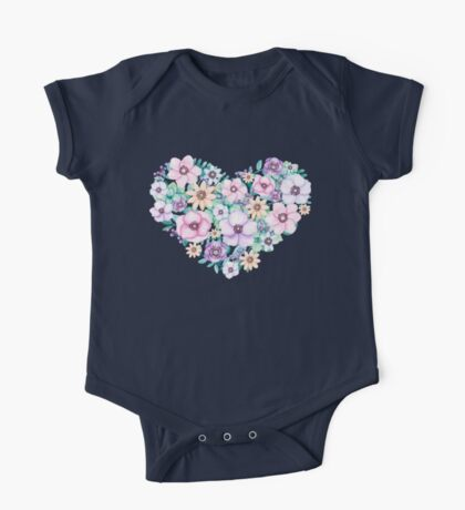 Watercolor Floral Heart One Piece - Short Sleeve