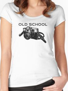 Old School Vintage Camera (Blue Version) Women's Fitted Scoop T-Shirt