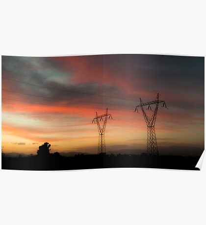 Electricity Pylons On Silhouette Landscape At Dusk Poster