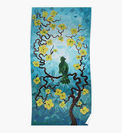 Green bird spring cherry blossom tree blue painting by Ksavera Poster