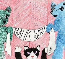 Animal Thank You Card by Erika Rier