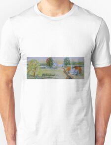 Farmhouse and Church Landscape Unisex T-Shirt