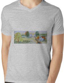 Farmhouse and Church Landscape Mens V-Neck T-Shirt