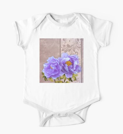 Tryst, lavender blue peonies still life floral art One Piece - Short Sleeve