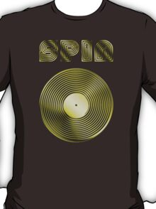 Spin - Vinyl LP Record & Text - Metallic - Gold T-Shirt