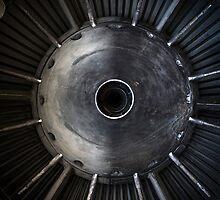 Closeup photo of a jet engine by Anna Váczi