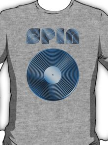 Spin - Vinyl LP Record & Text - Metallic - Blue T-Shirt