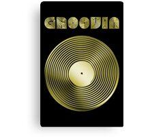 Groovin - Vinyl LP Record & Text - Metallic - Gold Canvas Print