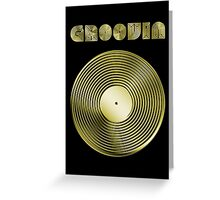 Groovin - Vinyl LP Record & Text - Metallic - Gold Greeting Card