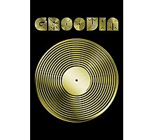 Groovin - Vinyl LP Record & Text - Metallic - Gold Photographic Print