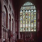 Altar and stained glass window Hereford Cathedral England 198405150038  by Fred Mitchell