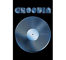Groovin - Vinyl LP Record & Text - Metallic - Blue Photographic Print