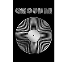 Groovin - Vinyl LP Record & Text - Metallic - Steel Photographic Print