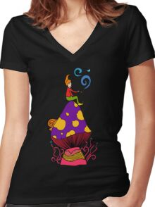 Smoking Gnome 2 Women's Fitted V-Neck T-Shirt