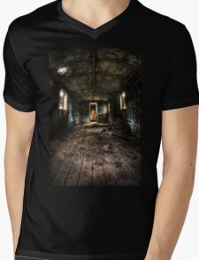 Old train carriage interior with light intruding Mens V-Neck T-Shirt
