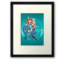 Mega Man and Rush Framed Print
