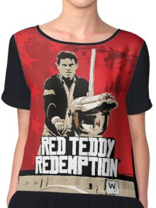 Red Teddy Redemption Mashup Chiffon Top