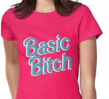 Basic Bitch Blue & White Womens Fitted T-Shirt