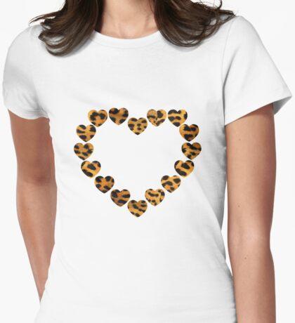 Leopard Heart Womens Fitted T-Shirt