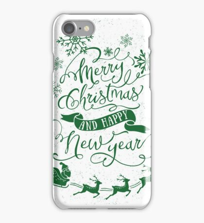 Merry Christmas & Happy New Year (Green) iPhone Case/Skin