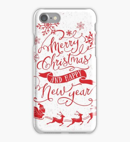 Merry Christmas & Happy New Year (Red) iPhone Case/Skin