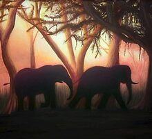 Elephant Sunset by AprilStrange
