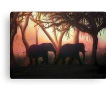 Elephant Sunset Canvas Print