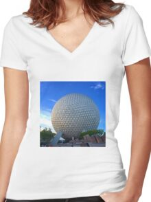 Epcot Center Spaceship Earth Women's Fitted V-Neck T-Shirt