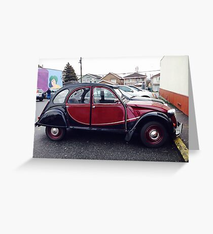 Classic vintage French Citroen car auto automobile vehicle red black Greeting Card