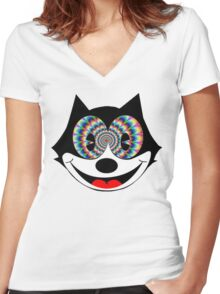 trippy felix Women's Fitted V-Neck T-Shirt