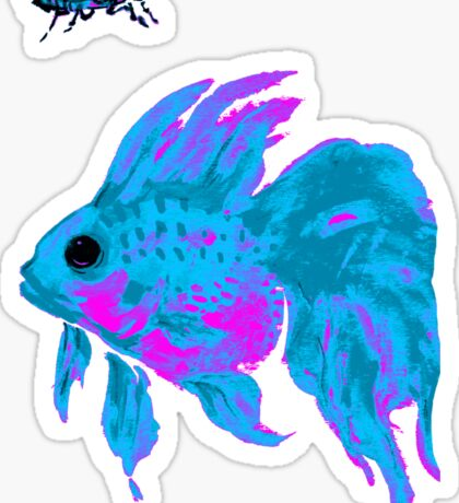 cool electric goldfish & bug Sticker