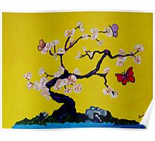 Oriental Cherry Blossom Tree with Butterflies by the Water Poster