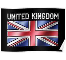 United Kingdom - British Flag & Text - Metallic Poster