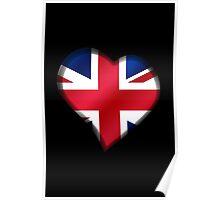 British Union Jack Flag - United Kingdom UK - Heart Poster