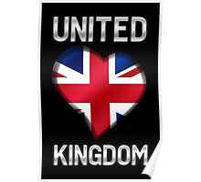 United Kingdom - British Flag Heart & Text - Metallic Poster
