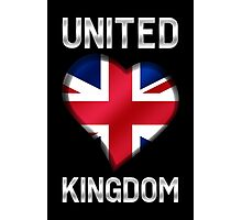 United Kingdom - British Flag Heart & Text - Metallic Photographic Print