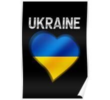 Ukraine - Ukrainian Flag Heart & Text - Metallic Poster
