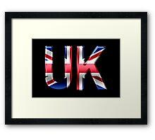 UK - British Flag - Metallic Text Framed Print