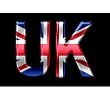 UK - British Flag - Metallic Text Photographic Print