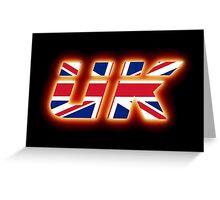 UK - Flag Logo - Glowing Greeting Card