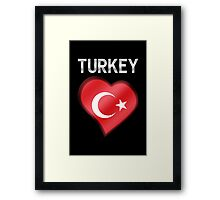 Turkey - Turkish Flag Heart & Text - Metallic Framed Print