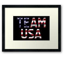 Team USA - American Flag - Metallic Text Framed Print