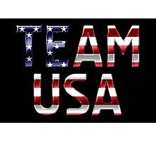 Team USA - American Flag - Metallic Text Photographic Print