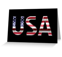 USA - American Flag - Metallic Text Greeting Card